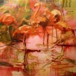 flamingos acryl/öl/leinw. 120x150cm