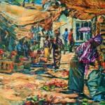 afrikanischer markt öl/leinw. 80x100cm