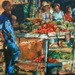 marktszene mit tomaten öl/leinw. 60x70cm